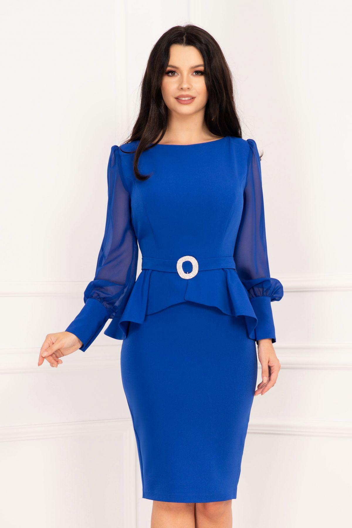 Rochie de ocazie InPuff albastru royal cu peplum si accesoriu pretios