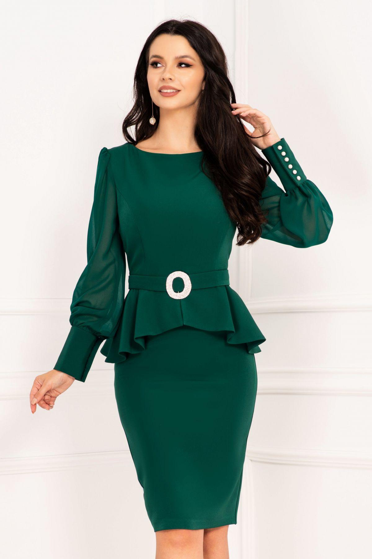 Rochie de ocazie InPuff verde cu peplum si accesoriu pretios