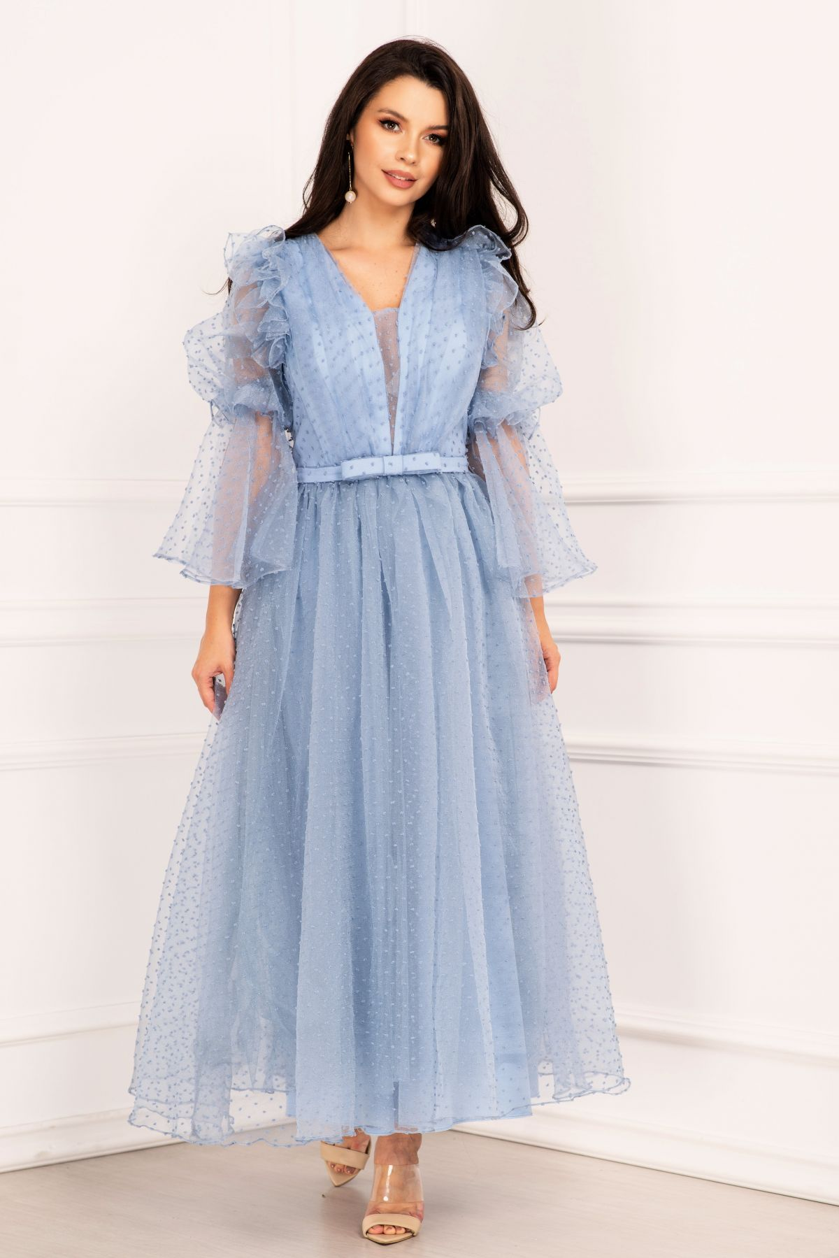 Rochie de lux bleu eleganta din tulle cu buline si volane
