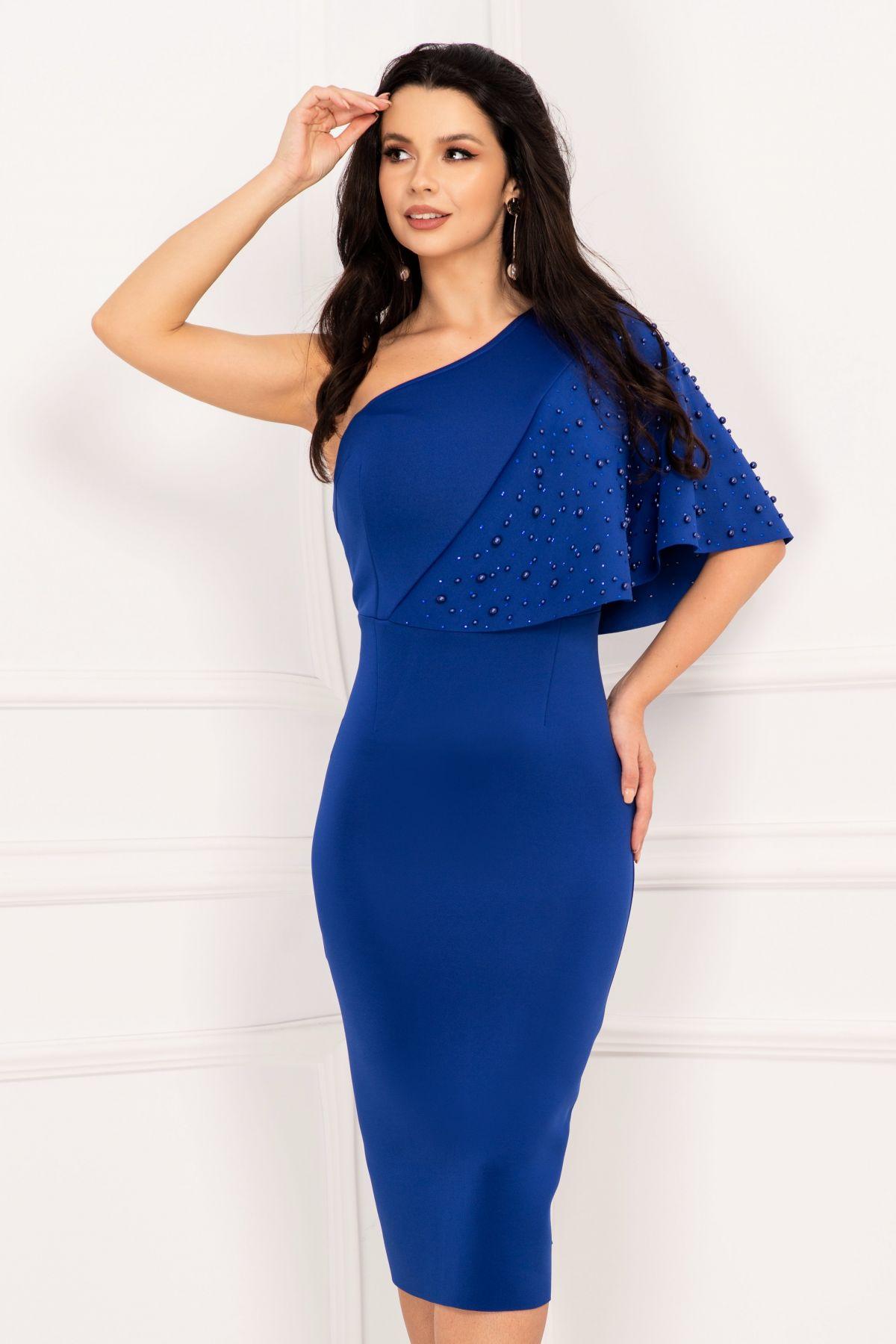 Rochie de ocazie albastra eleganta cu perle si strasuri aplicate