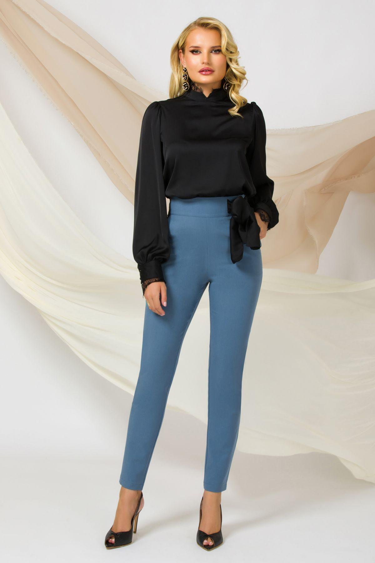 Pantaloni dama office Pretty Girl bleu cu talie inalta si funda neagra satinata