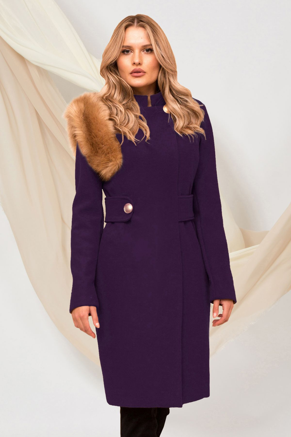 Palton dama Pretty Girl elegant violet cu blana ecologica detasabila pe umar