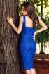 Rochie Ella treisferturi broderie albastru