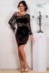 Rochie de seara neagra din catifea si dantela