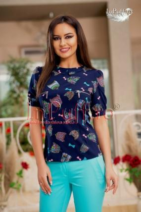 Bluza dama bleumarin cu imprimeu