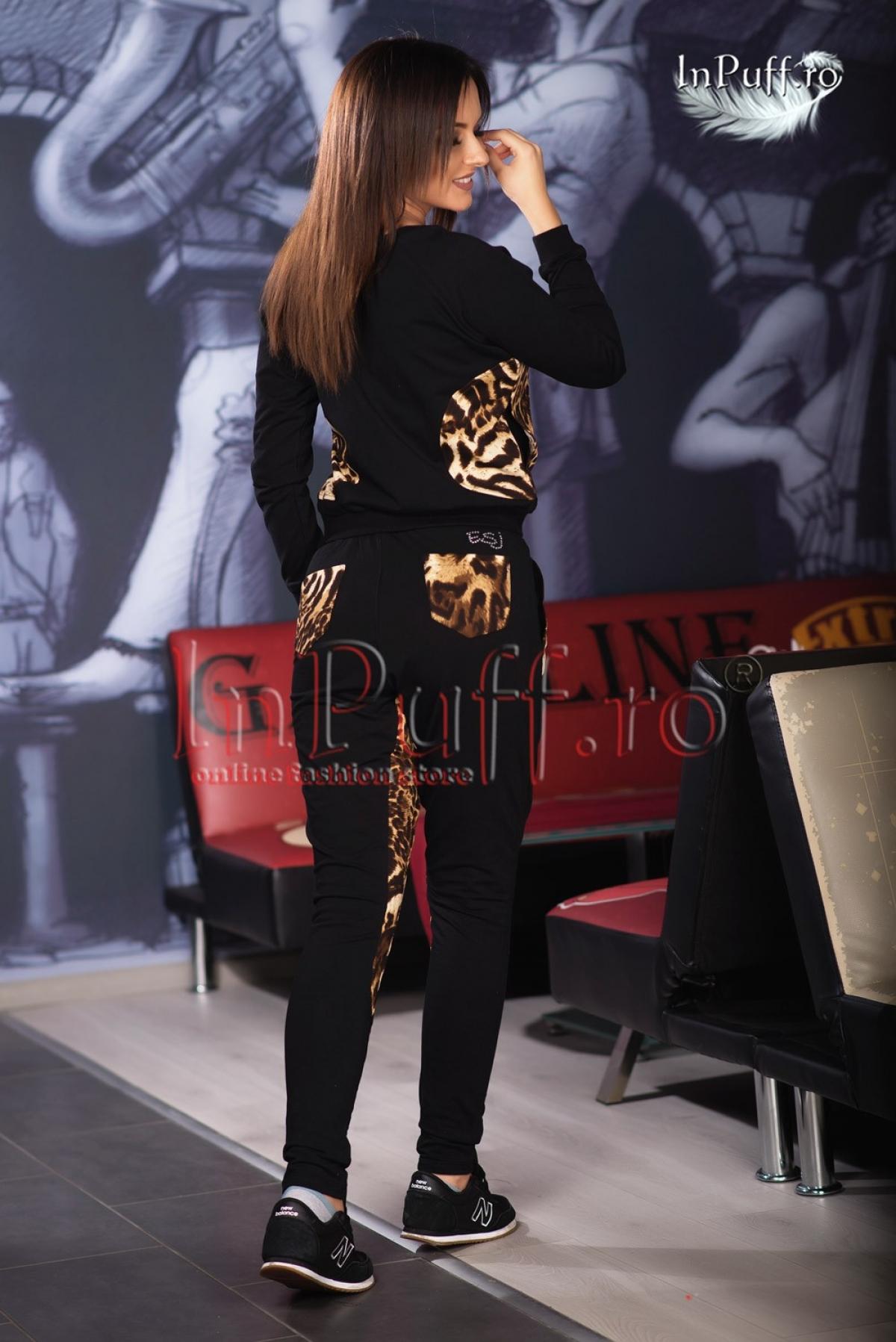 Trening dama bumbac negru cu animal print