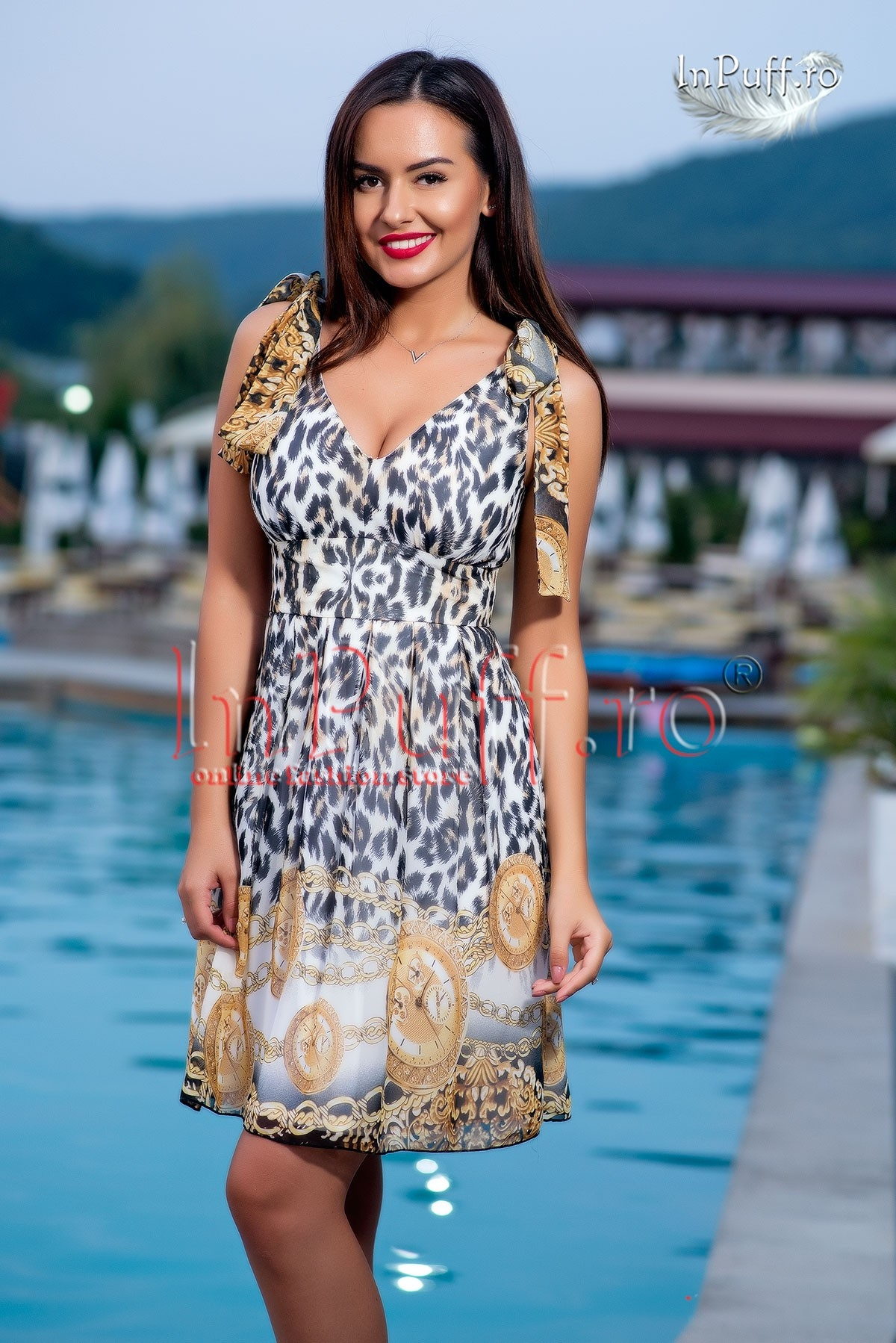 Rochie din voal animal print