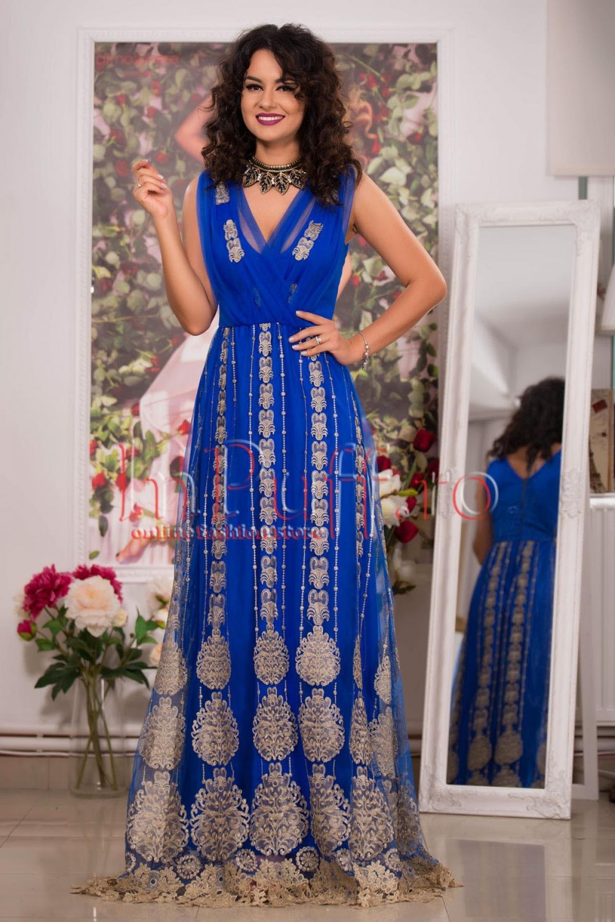 Rochie lunga albastra cu broderie aurie