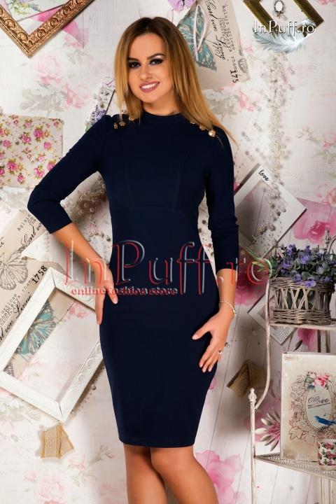 Rochie midi eleganta bleumarin