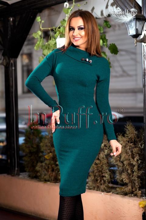 Rochie trei sferturi verde din tricot