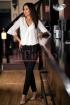 Pantaloni dama negri cu fermoare metalice argintii
