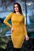Rochie trei sferturi galben mustar cu maneca lunga