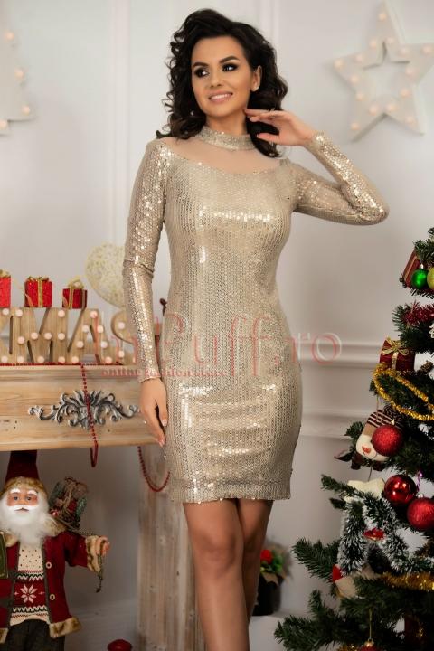 Rochie scurta de seara cu paiete aurii