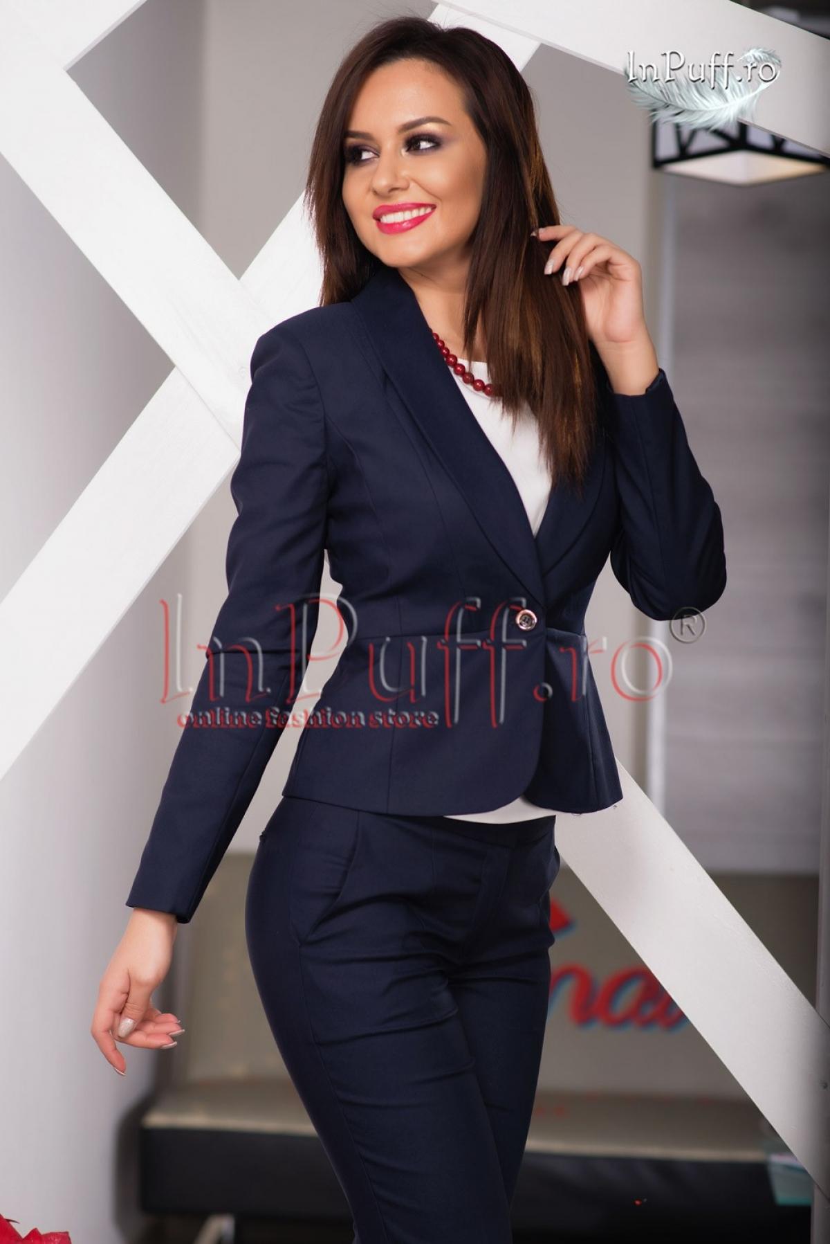 Sacou dama office bleumarin