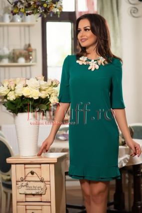 Rochie midi verde-turcoaz cu volanase