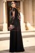 Rochie lunga neagra din voal si dantela brodata