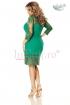 Rochie midi verde din dantela brodata