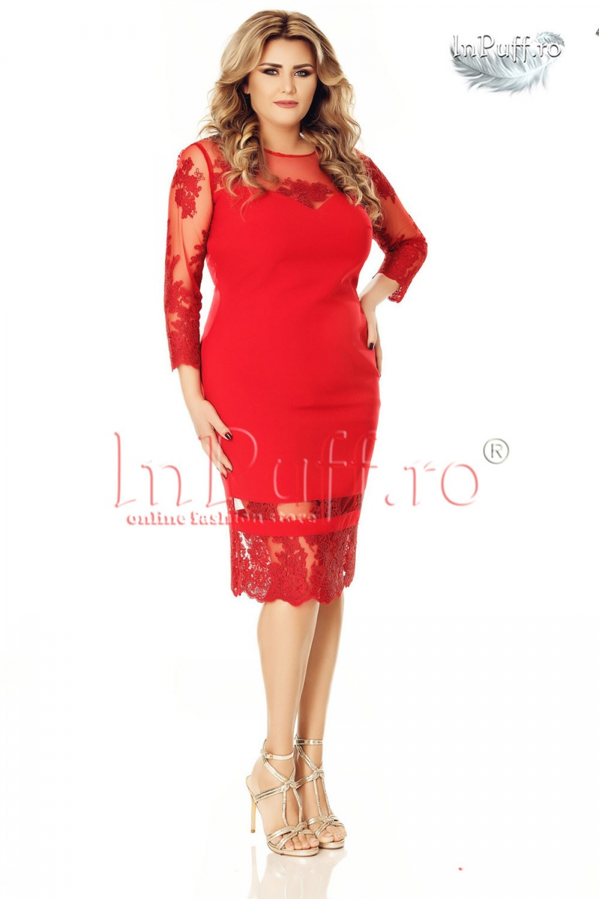Rochie de seara rosie midi cu tul brodat