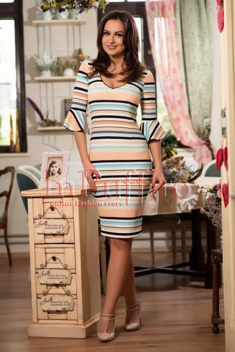 Rochie midi cu dungi colorate