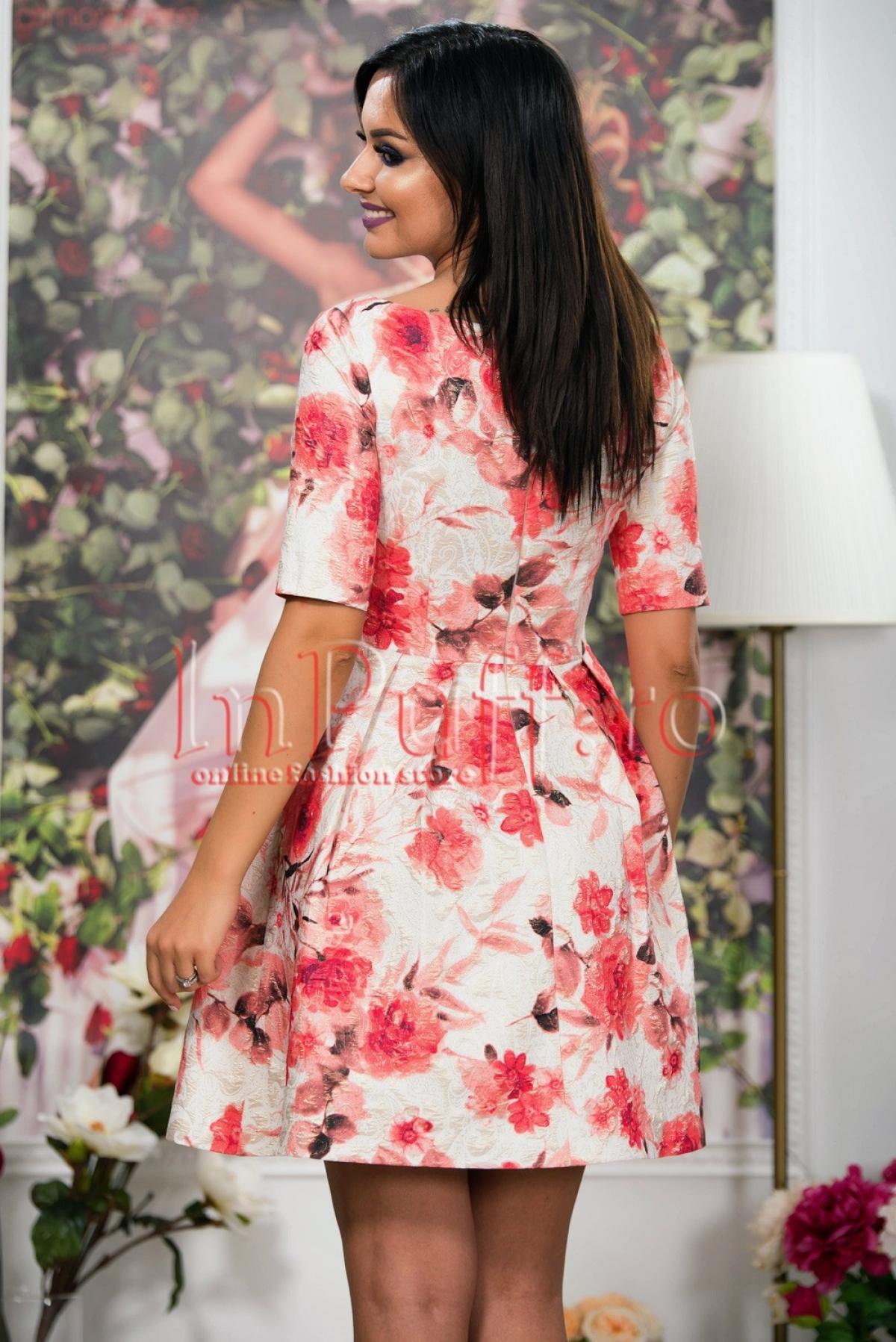 Rochie ivoire brocard cu imprimeu floral