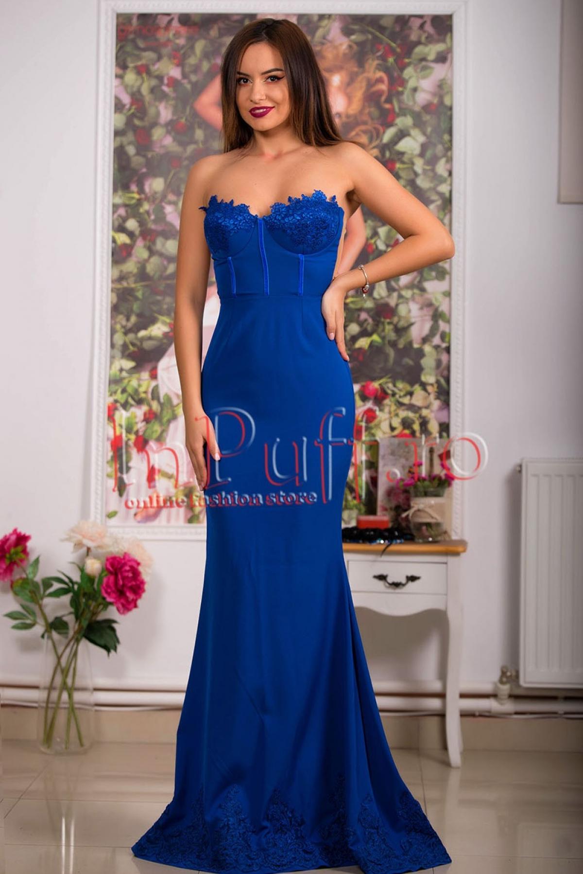 Rochie lunga albastra bistrech cu dantela Atmosphere