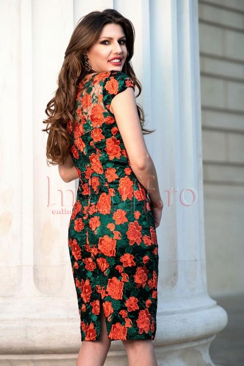 Rochie midi verde cu broderie corai
