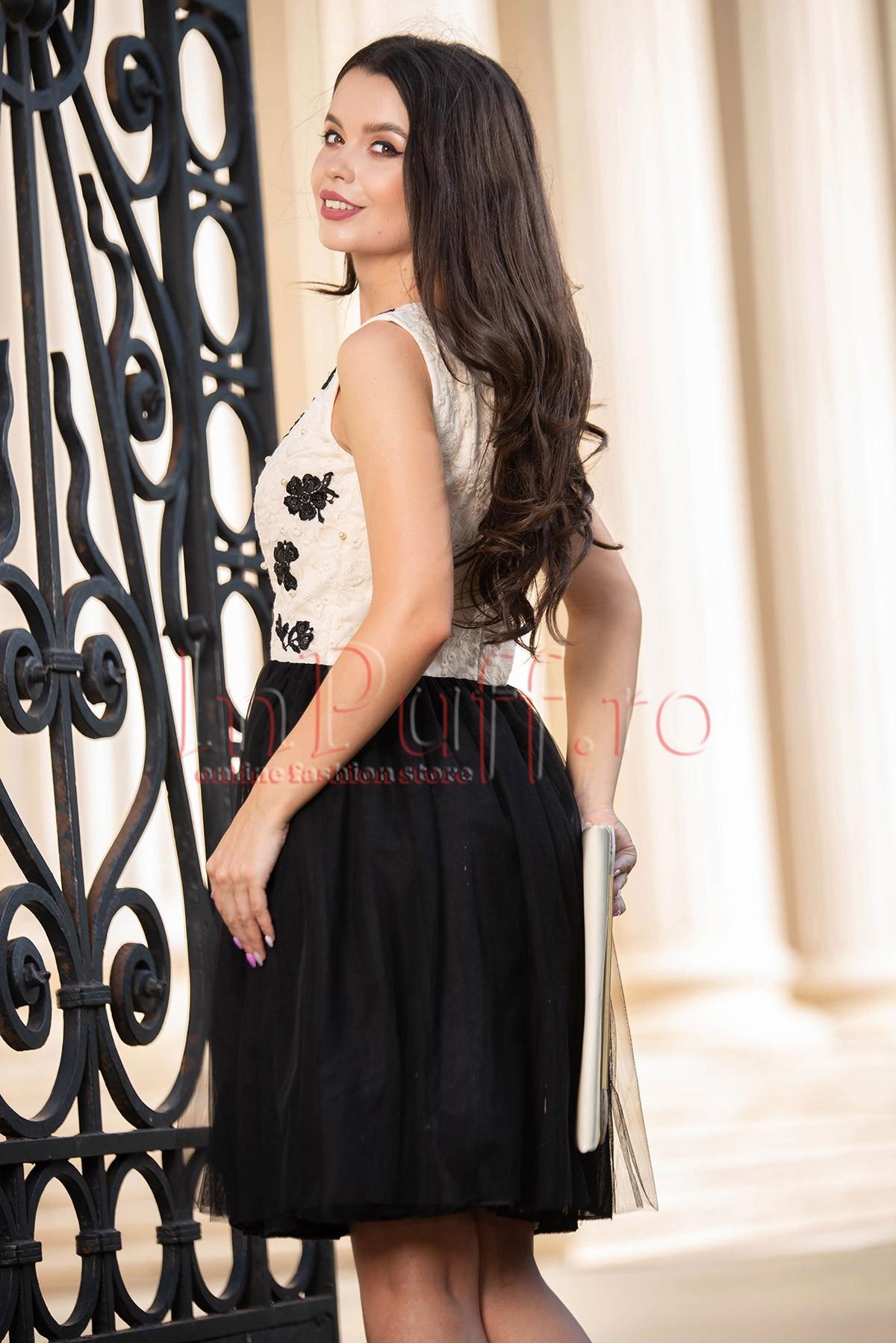 Rochie de seara baby doll tul negru cu broderie crem