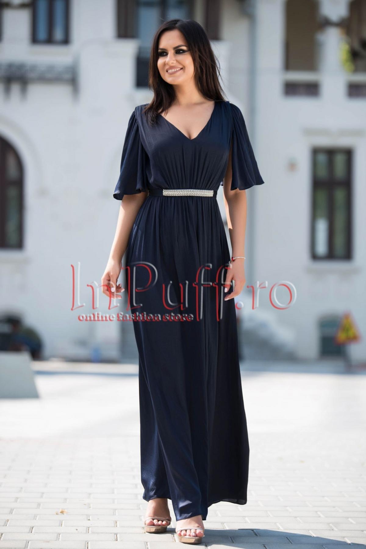 Rochie lunga eleganta bleumarin