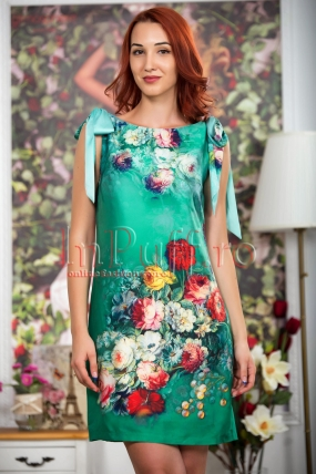 Rochie verde cu imprimeu floral