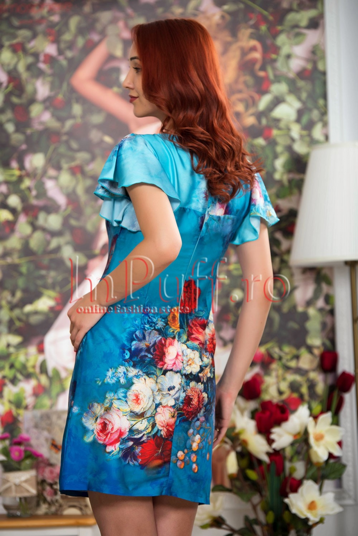Rochie de vara albastra cu imprimeu floral