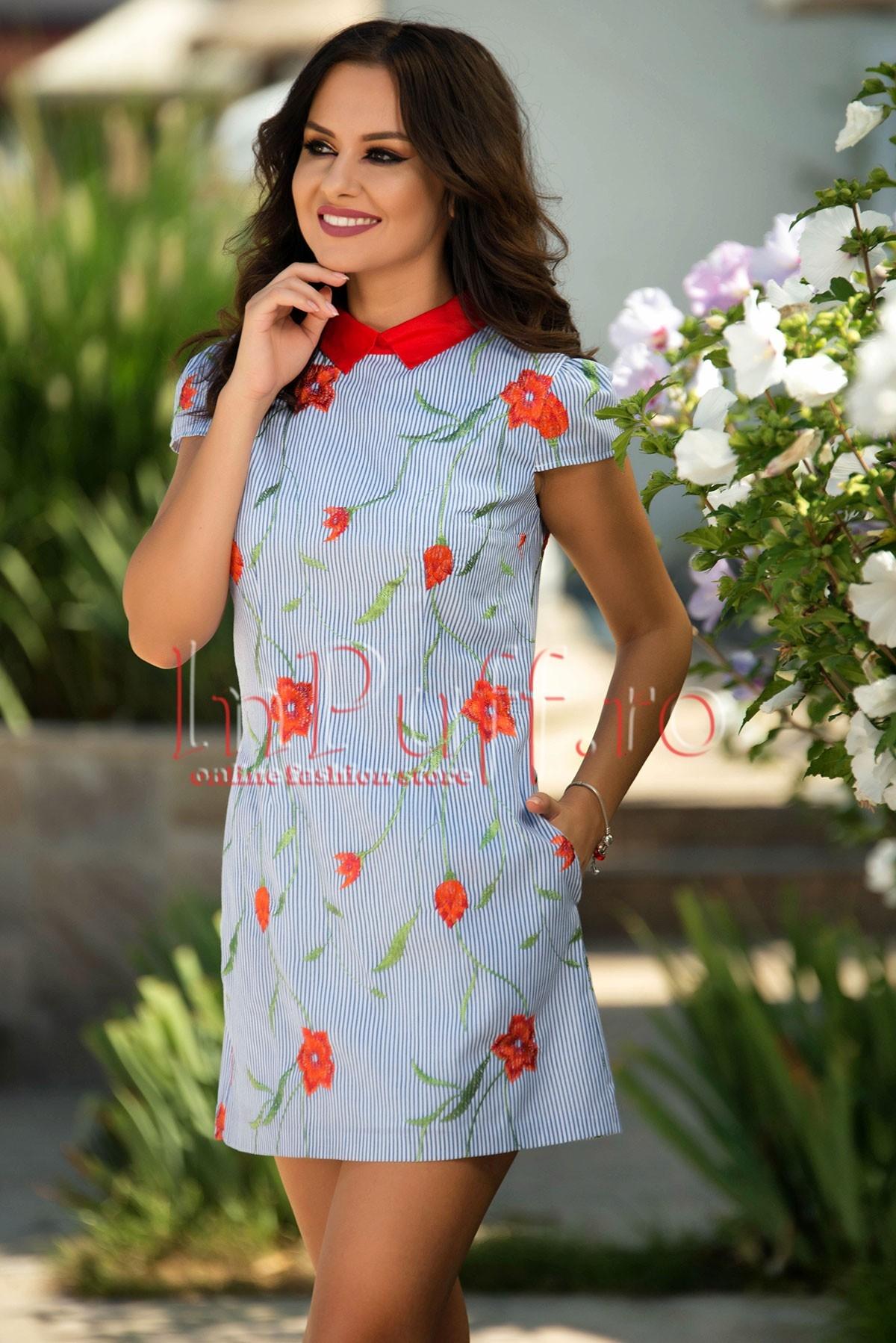 Rochie din in cu dungi si flori brodate