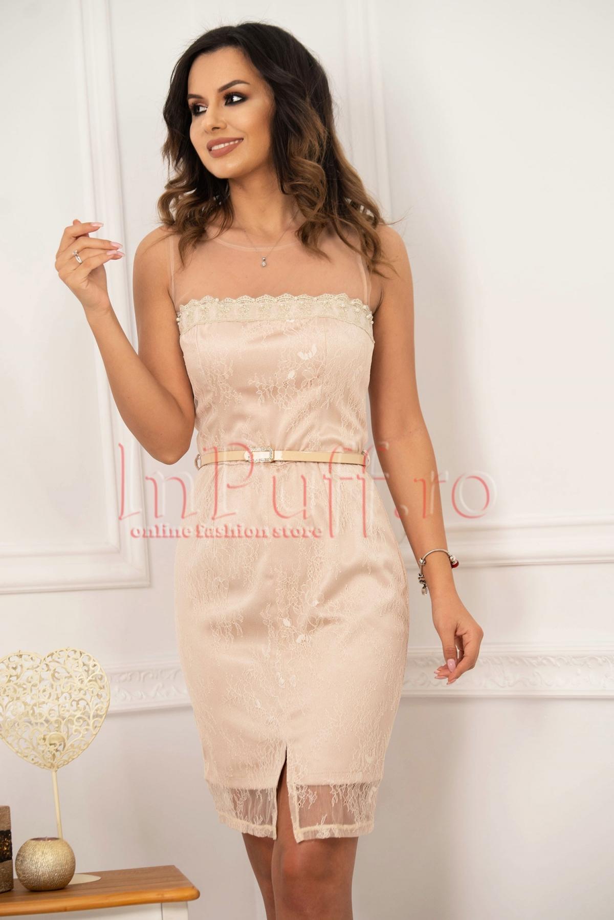 Rochie eleganta midi din dantela nude