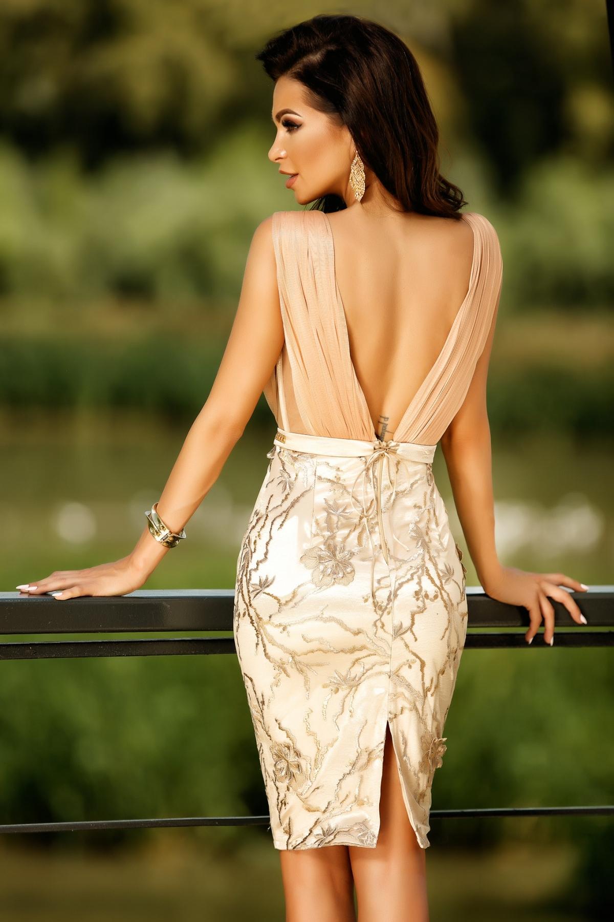 Rochie eleganta de seara din dantela bej aurie