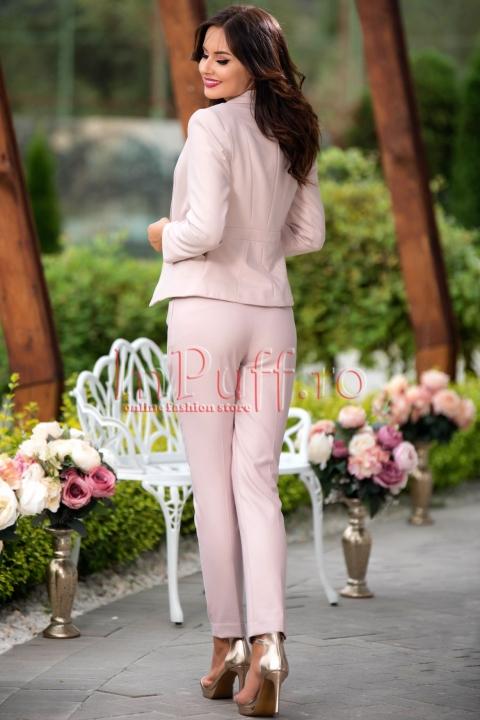 Pantaloni eleganti dama roz pudra