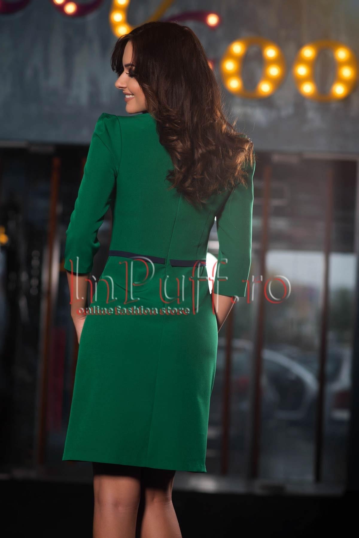 Rochie eleganta verde cu fundite la gat