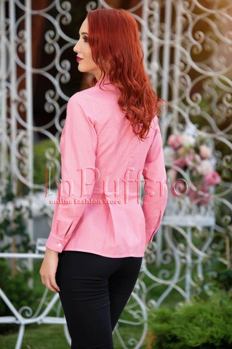 Camasa eleganta din bumbac roz cu buline albe