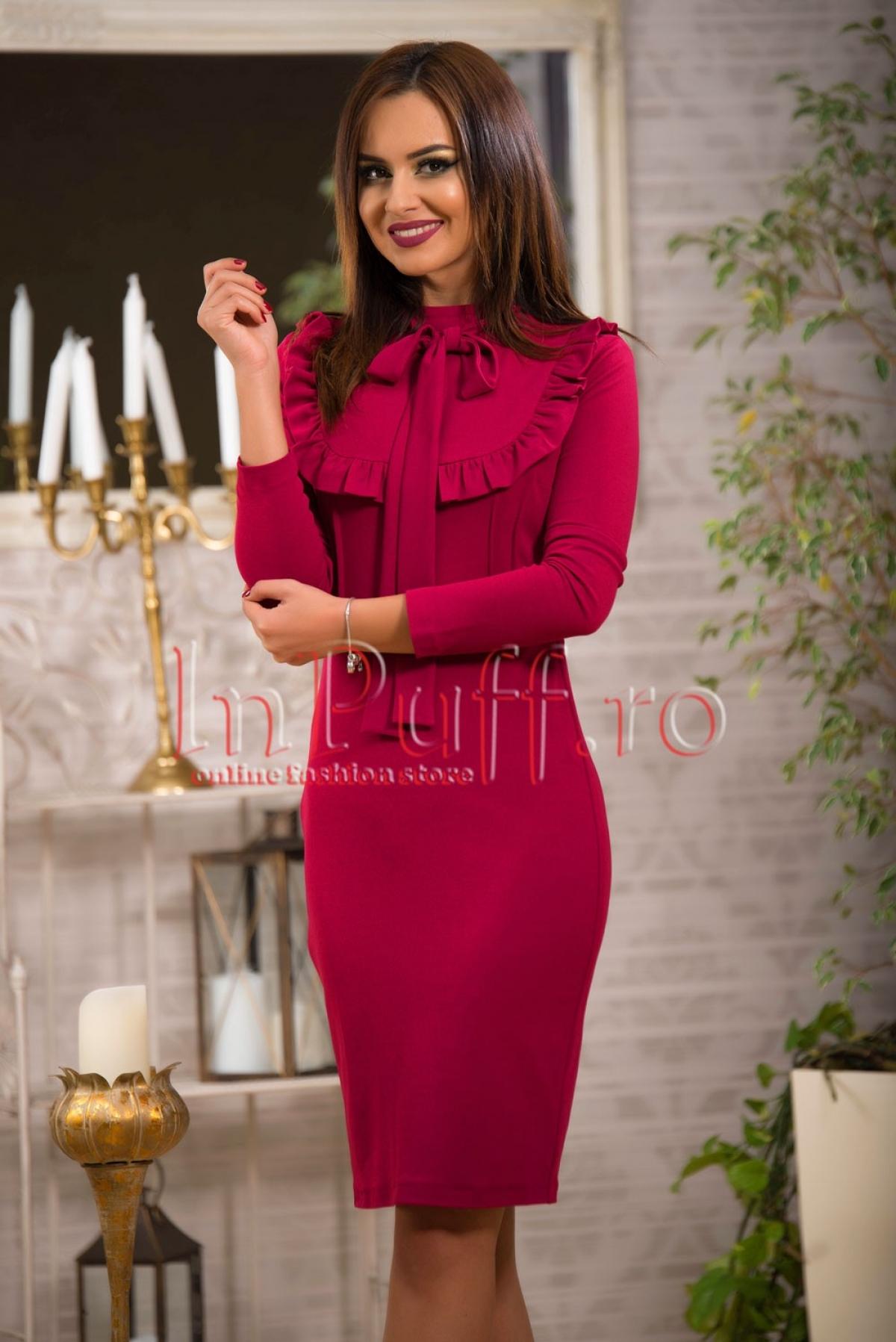 Rochie eleganta midi roz fuchsia
