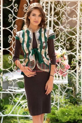 Vesta traditionala dama cu dantela verde si detalii argintii