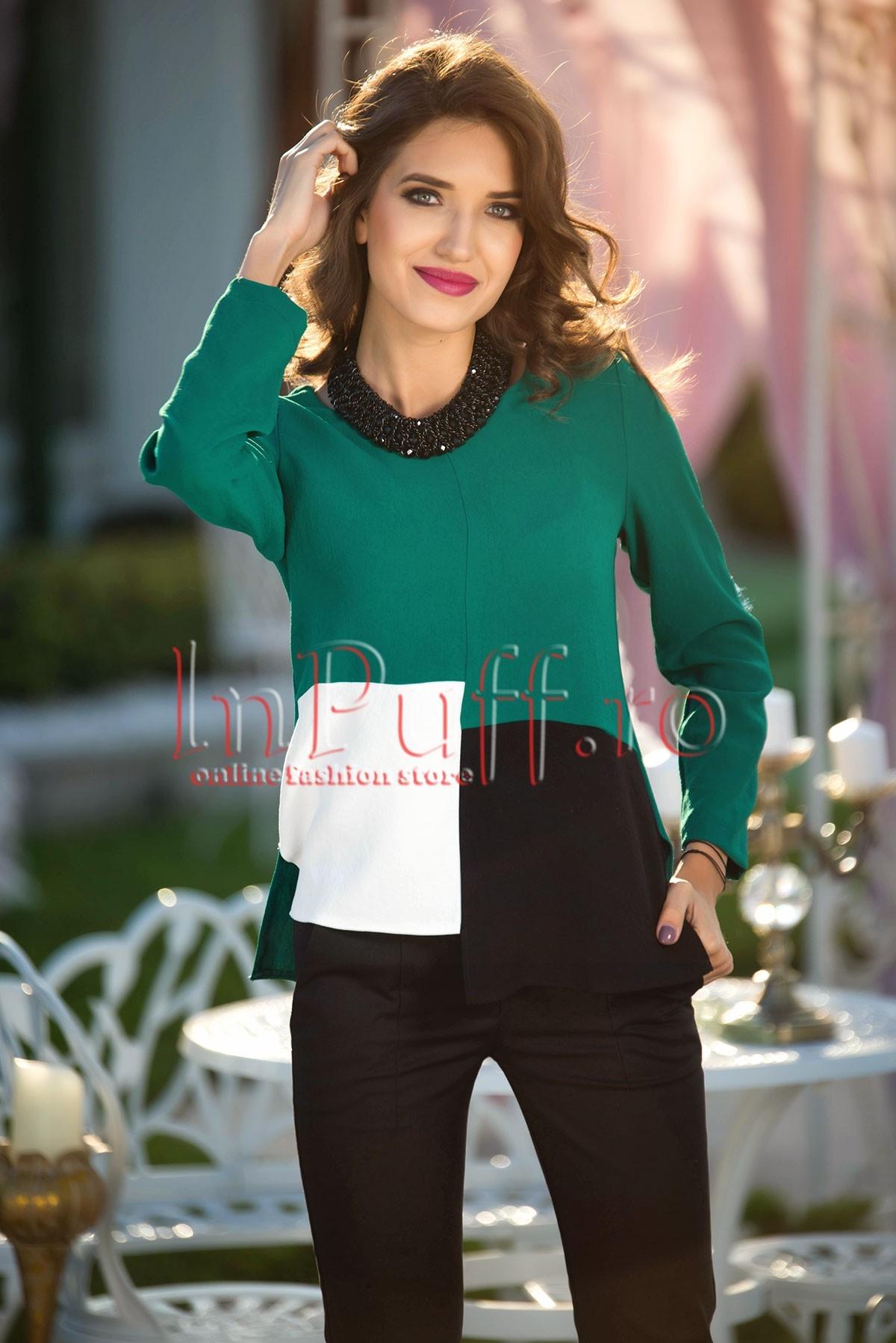 Bluza lejera verde cu model asimetric
