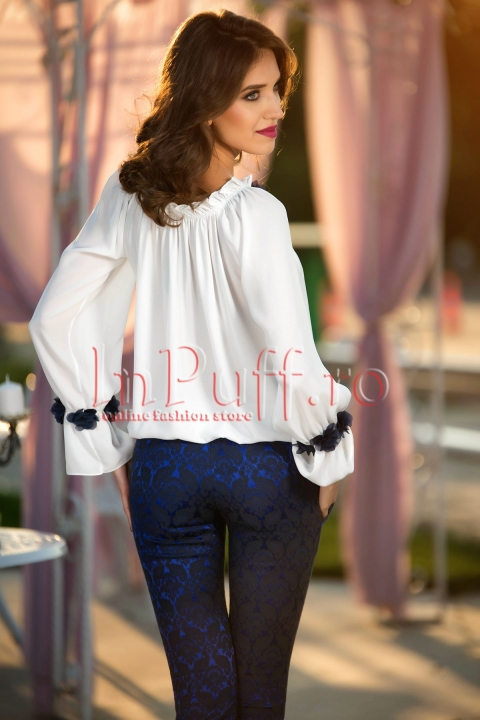 Pantaloni eleganti din brocart bleumarin