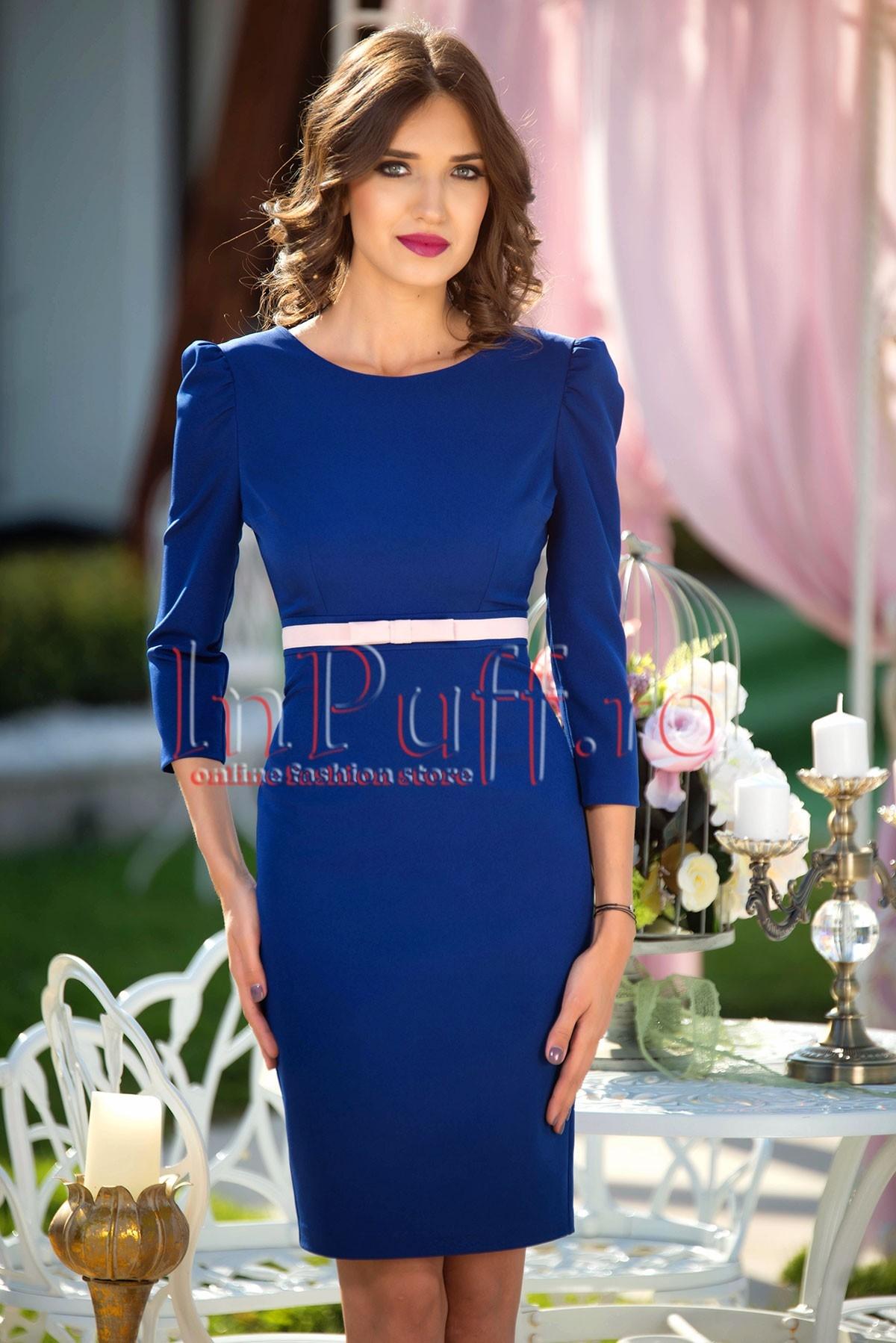 Rochie eleganta albastra cu fundita in talie