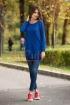 Pulover lejer albastru lung