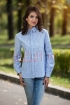Camasa bleu din bumbac cu dungi albe