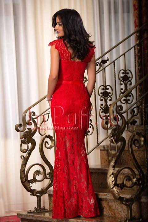 Rochie lunga rosie de seara din dantela