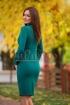 Rochie verde cu volanase si detalii din catifea