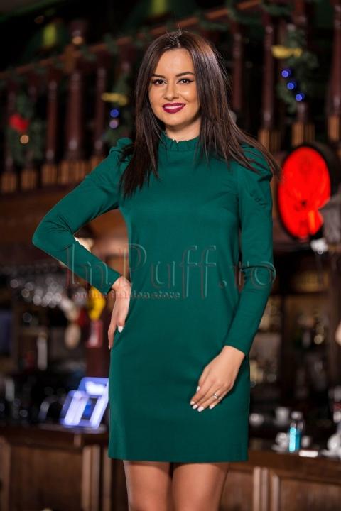Rochie eleganta verde cu maneci bufante